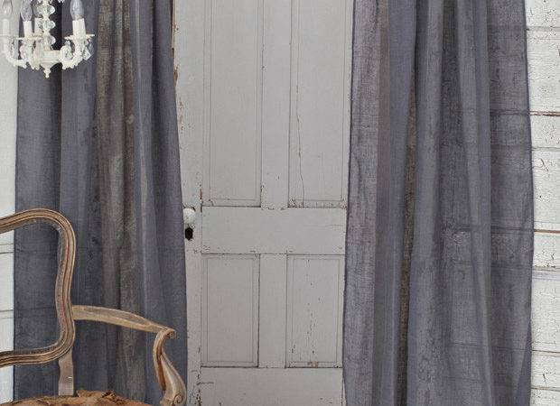 District Solid Slate Grey Linen Window Curtain