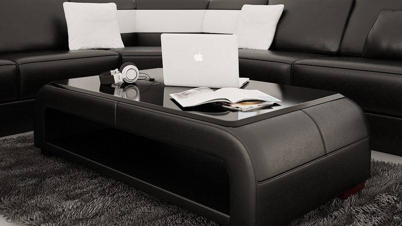 Divani Casa Modern Black Bonded Leather Coffee Table
