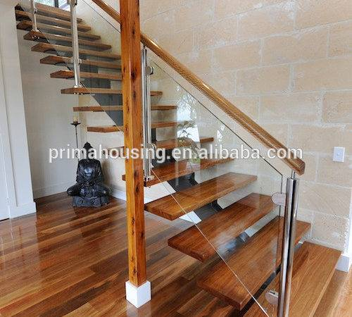 Diy Floating Stairs Wood Glass Railing Staircase