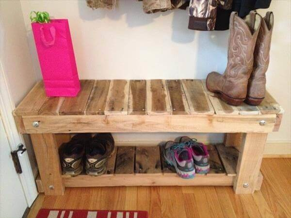 Diy Pallet Entryway Bench Shoe Rack Pallets