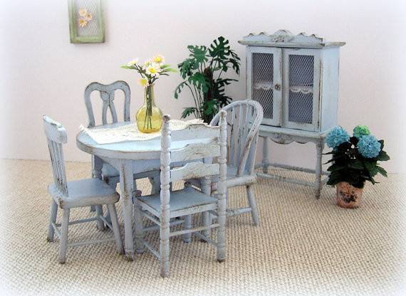 Dollhouse Miniature Shabby Cottage Kitchen Table Chairs
