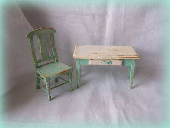 Dollhouse Shabby Cottage Kitchen Table Chair