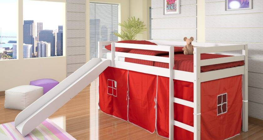 Donco Kids Twin Loft Tent Bed Slide White Bunk