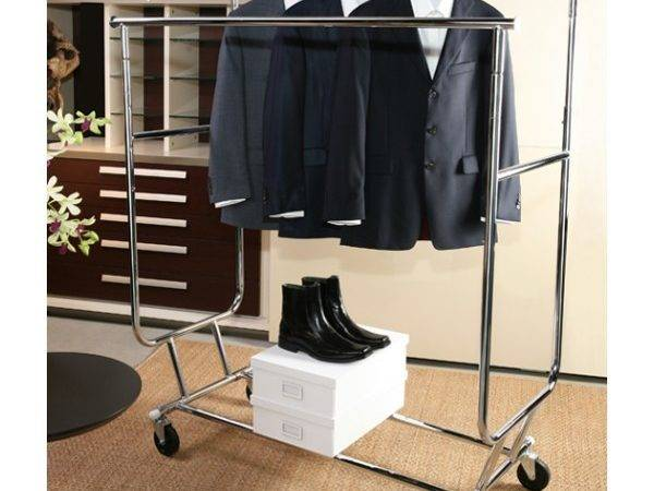 Double Bar Adjust Rolling Rack Clothing Racks Designer