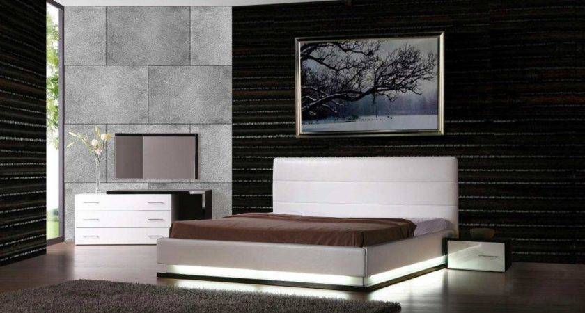 Double Set Bed Whie Color Contemporary Master Bedroom