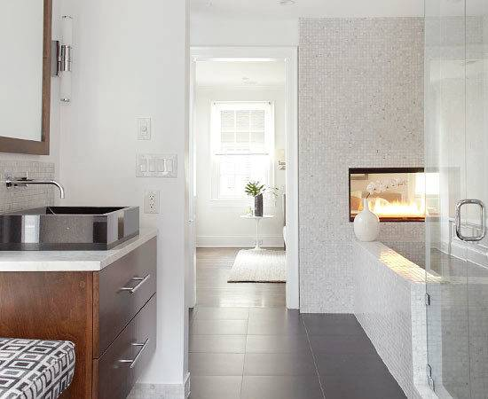 Double Sided Fireplace Contemporary Bathroom Bhg