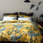 Dwellstudio Peacock Citrine King Duvet Cover Shams