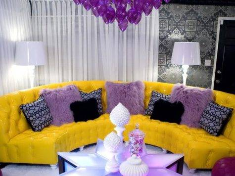 Eclectic Living Room Purple Yellow Furnishings Hgtv