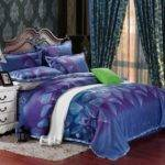 Egyptian Cotton Blue Purple Satin Bedding Comforter Set