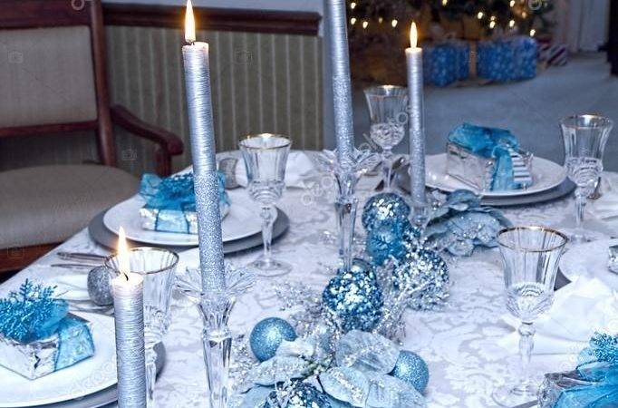 Elegant Blue Silver Decorated Table Christmas