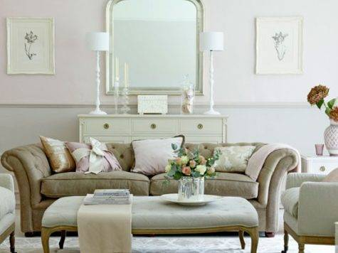 Elegant Pink Grey Living Room