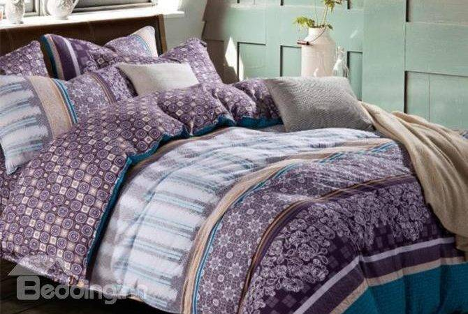 Elegant Purple Blue Floral Patterns Kintting Bedding