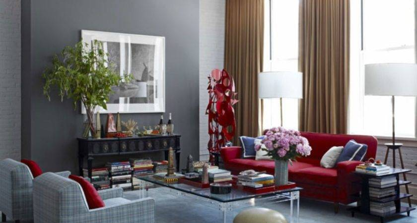 Elegant Red Sofa Combined Brown Curtain Gray Wall