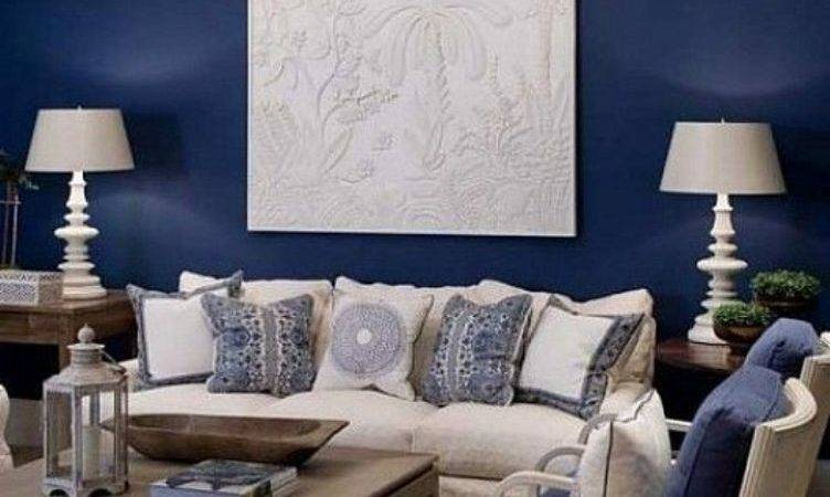 Elegant White Painting Navy Blue Wall Color