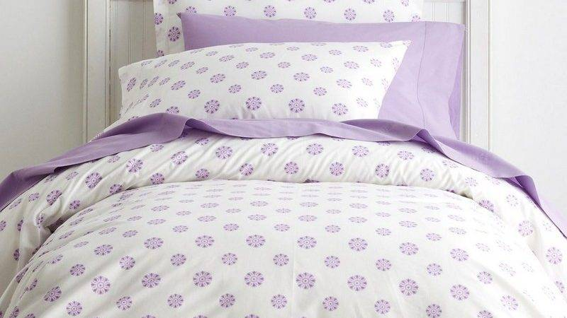 Ellie Lilac Dot Percale Kids Sheets Bedding Set