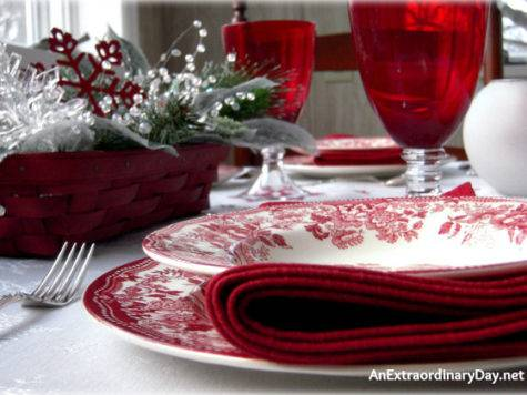 Embracing Winter Red White Table Setting