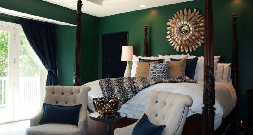 Emerald Green Bedroom Transitional White