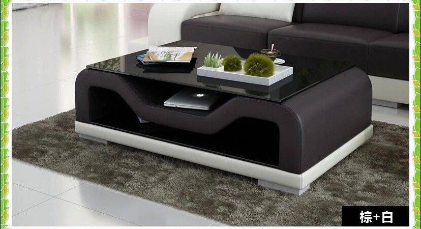European Style Sofa Table White Black Leather Coffee