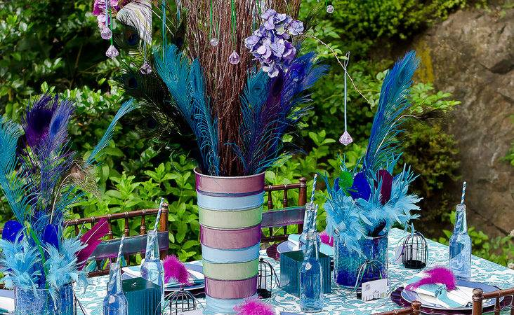 Events Sparkle Peacock Feather Tablescape