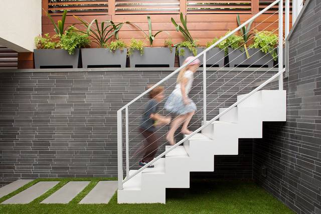 Exterior Stairs Leading Porch Contemporary