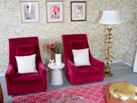 Extraordinary Hot Pink Walls Living Room Design