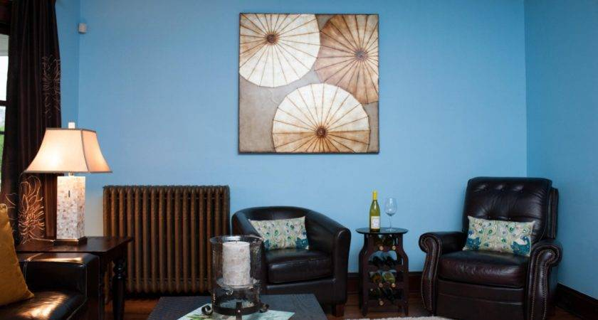 Fancy Brown Blue Walls Interior Decor Design
