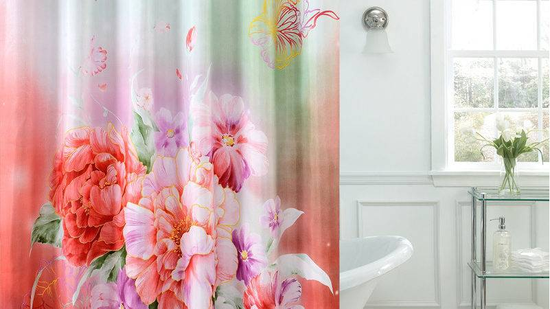 Fancy Shower Curtains Beige Fabric Curtain
