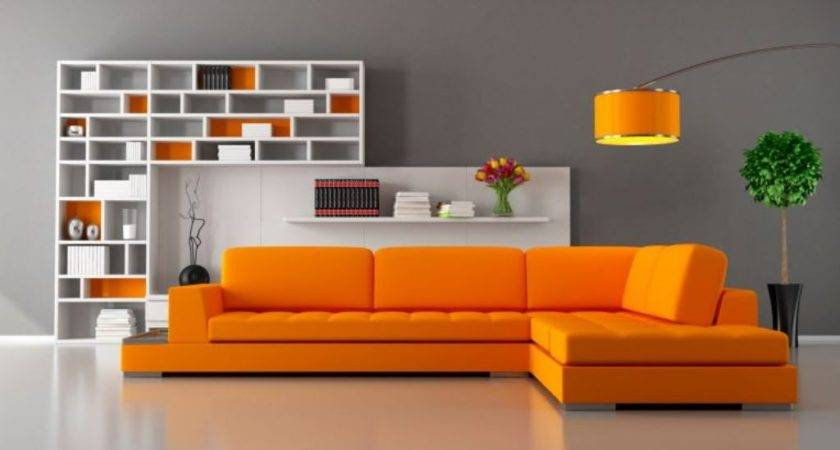 Fantastic Orange Sectional Sofa Set Soft Grey Wall