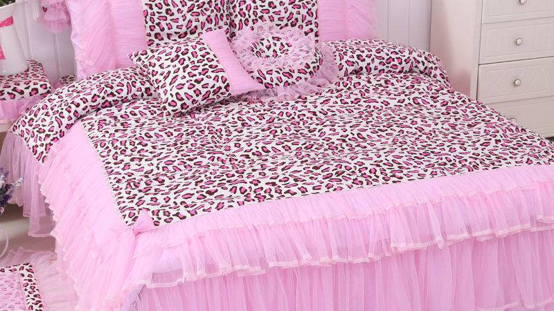 Fashion Cotton Pink Leopard Bedding Sets Twin Queen