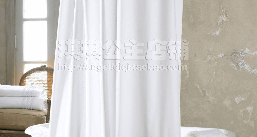 Fashion Plain Fresh Shower Curtain Polyster White