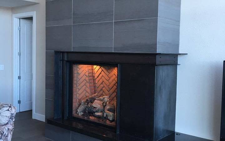 Finished Black Steel Fireplace Mantle Surround Core