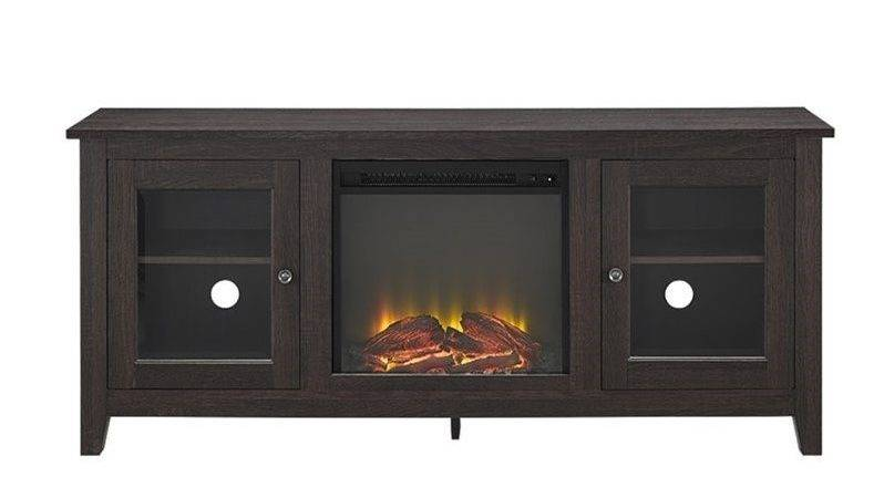 Fireplace Stand Doors Espresso Dwes