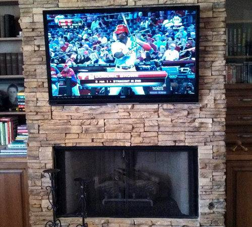 Flat Panel Hung Cultured Stone Fireplace