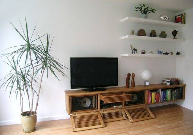 Floating Media Cabinet Shelves Contemporary Living
