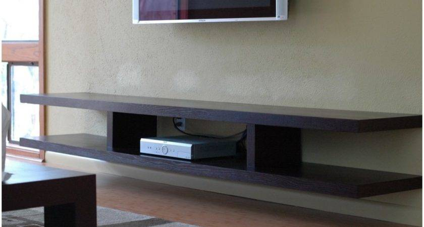Floating Shelf Under Wall Mounted Brown Wooden