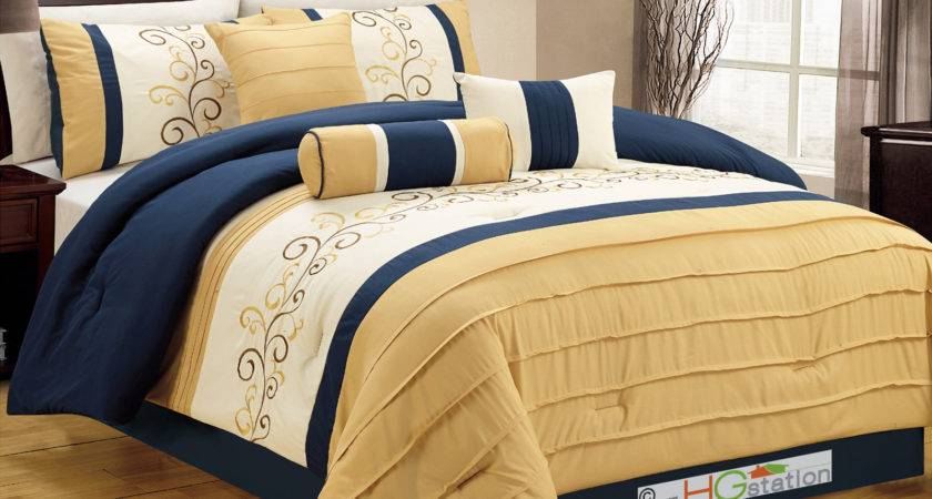 Floral Scroll Vine Embroidery Pleated Comforter Set