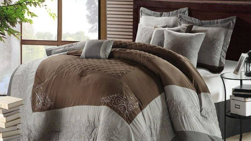 Florence Brown Gray Silver Piece Queen Comforter Bed