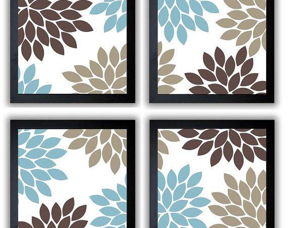 Flower Print Blue Brown Beige Chrysanthemum Flowers Set