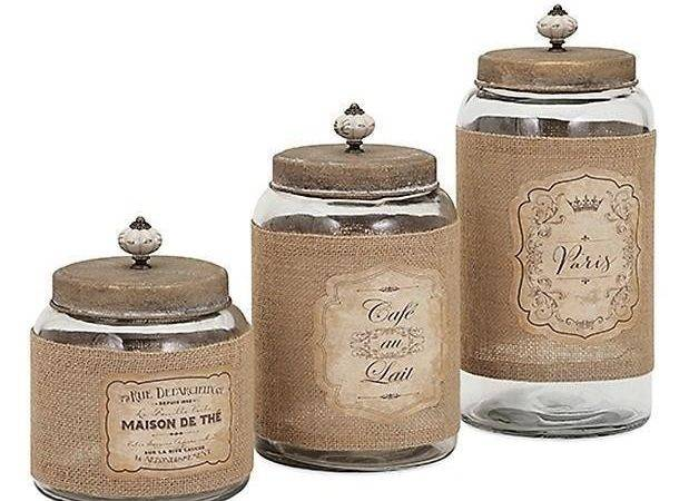 French Country Glass Jars Lids Kitchen Canister Set