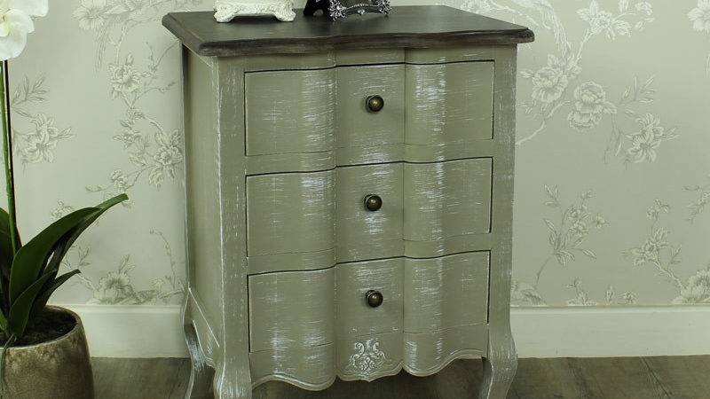 French Grey Drawer Bedside Table Chest Shabby Vintage