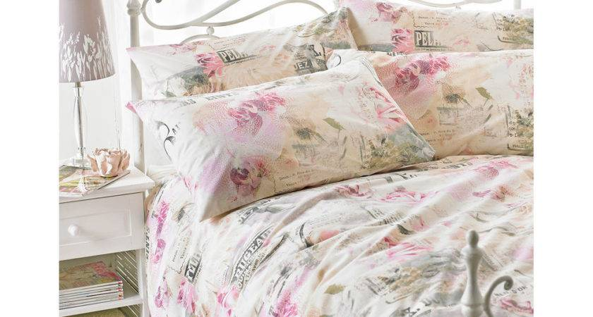French Print Vintage Duvet Cover Floral Rose Pink Natural
