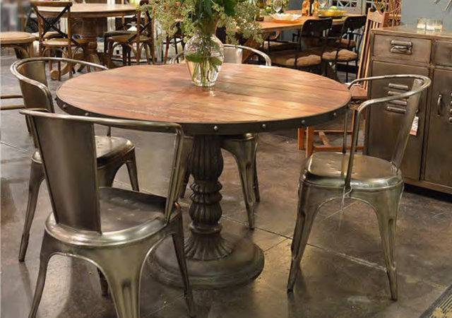 French Soda Fountain Round Table Industrial Dining