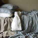 French Vintage Inspired Navy Ticking Heavy Linen Sheet Throw