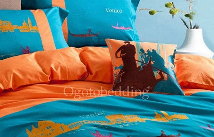 Funky Orange Teal Chic Patterned Cotton Duvet Covers