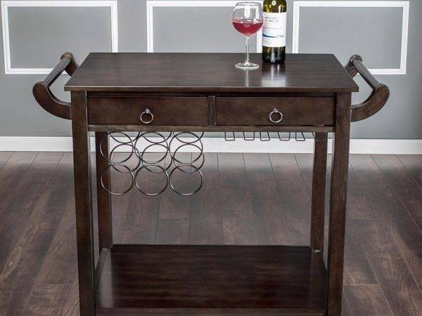 Furniture America Dark Walnut Vintage Kitchen Cart
