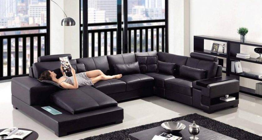 Furniture Black Leather Sofa Ideas Living Room