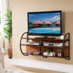 Furniture Black Metal Floating Stand Brown Wooden