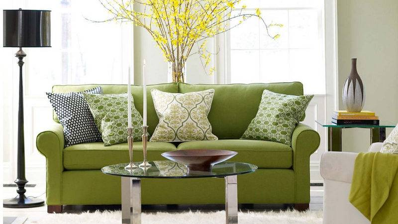 Furniture Bright Colored Sofas Design Green Color