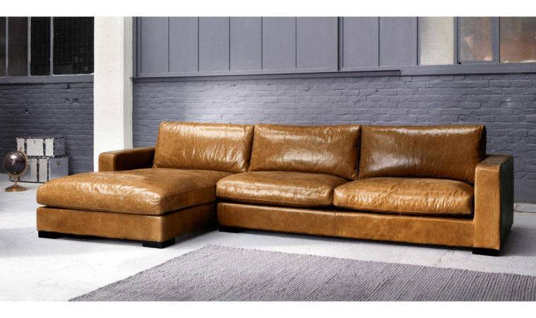 Furniture Brown Leather Large Sectional Sofa Chaise