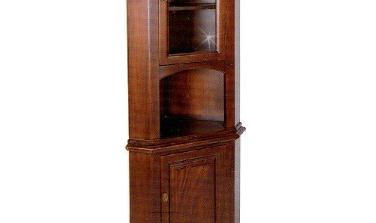 Furniture Brown Polished Wooden Corner Cabinets Wood